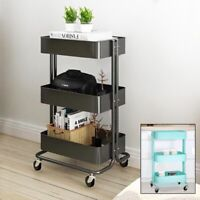 Mobile Kitchen Trolley Cart Rolling 3 Tier Storage Rack Metal Frame Stand Wheels