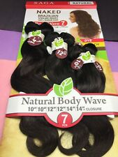SAGA NAKED BRAZILIAN VIRGIN REMY 100% HUMAN HAIR 101214 BODY_WAVE 7PCS_#NATURAL