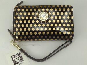Women's ANNE KLEIN Brand Black Gold Envelope Wallet - $40 MSRP