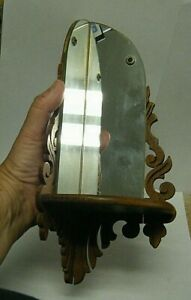 """Vintage 1940s Scroll Products 12"""" Mirrored Corner Wood Shelf Sconce"""