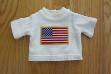"AMERICAN GIRL 18"" DOLL CLOTHES WHITE T-SHIRT BOY LOGAN, TENNEY FLAG APPLIQUE NEW"