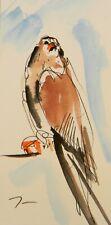JOSE TRUJILLO ORIGINAL Watercolor Painting Small 3x6 Bird Hawk Falcon New Art