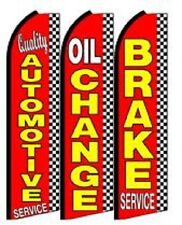 Quality Automotive Service, oil Change King Size  Swooper Flag pk of 3 Combo