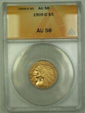 1909-D Indian Gold Half Eagle $5 Coin ANACS AU-58 RJS