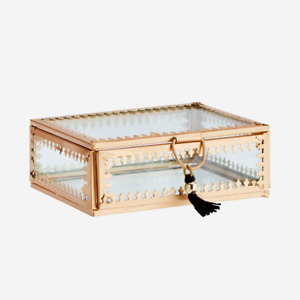 Small Clear Glass & Brass Box with Tassel, Gold Display Trinket Jewellery Holder