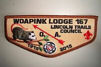 OA WOAPINK LODGE 167 LINCOLN TRAILS PATCH POSSUM NOAC 2015 100TH CENTENNIAL FLAP