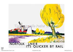 NORFOLK BROADS RETRO ART VINTAGE RAILWAY TRAVEL POSTER ADVERTISING TOM PURVIS
