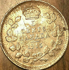 1915 CANADA SILVER 5 CENTS COIN - Nicer example!