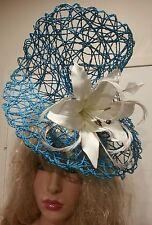 Fascinator hatinator hat races wedding bright blue - one off design
