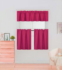 "COMPLETE SET LINED BLACKOUT WINDOW KITCHEN CURTAIN SOLID TREATMENT 24"" LENGTH K4"