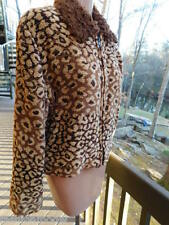 PAINTED PONY leopard WOVEN shades of BROWN TAN  mutton fur collar JACKET coat  s