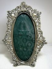 Authentic Victorian Silver FLEUR DE LIS Cartouche Easel Back Oval Picture Frame