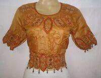 """Vintage Sari Blouse Choli Top BUST 38"""" B9 Beads Emb Brown  #ABOZR"""