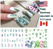 12 Sheets Design Water Transfer Nail Decal Set Colorful Leaf Bamboo Stickers