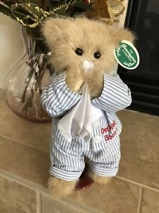 "Bearington Bears ILLIE WILLIE #2712  Plush 11"" 🐻Get Well Soon! Striped PJ's NWT"