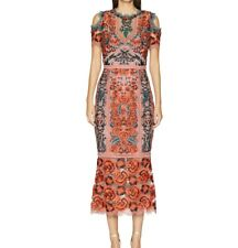 Marchesa Notte Guipure NWT $700 lace green red roses Cold Shoulder dress size 6