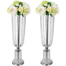 Wedding Centerpieces Vase Crystal Metal Table Silver Flower Holder Stand Rack