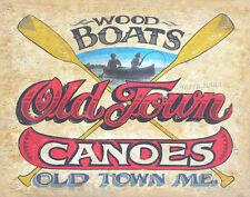 Old Town Canoe   Print art decor  vintage  folk art Maine canoe paddle lake