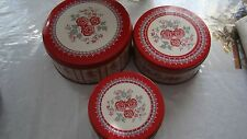 Set of 3 Nature's Home Porcelain Roses Design Round Nested Storage Canisters