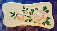 Vintage MCM Mallory Jamar Studio Porcelain Trinket Box - Raised Relief Roses