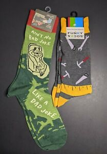 Blue Q Men's Crew Socks Ain't No Bad Joke Like a Dad Joke Plus Funky Skcos Tools
