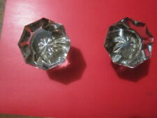 Vintage Glass Brass Door Knobs 8 Point Starburst Rosette - 2Ea