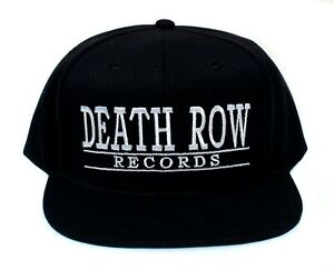 Death Row Records Black Embroidered Flat Brim Hat NWA Dr. Dre Snoop Dogg Compton
