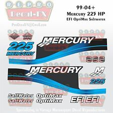 1999-04 Mercury 225HP Blue Decals EFI OptiMax Saltwater 15pc Repro Outboard 2004