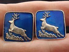 Sterling Silver and Enamel Cufflinks by DAVID ANDERSEN of Norway Reindeer Stags