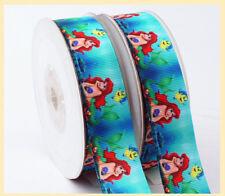 "1"" 25mm DISNEY MERMAID ARIEL GROSGRAIN RIBBON 3YARDS Hair Bow DIY /Head Band"