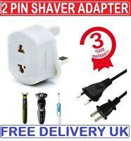 2-Pin To 3-Pin UK Shaver Adapter Plug Socket Converter EU European Euro Europe
