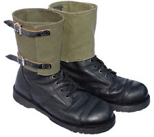 Genuine Ex-Army Boot Gaiters Canvas & Leather Olive Shoe Leg Spats Vintage 1960s