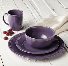 Rachel Ray Dinnerware Dishes Dish Set Service for 4 Purple Stoneware Round Plate