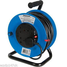 25M Mains Power Extension Cable Reel 4 Socket 240V 13A Freestanding