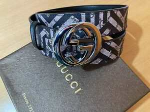 GUCCI Women Canvas Belt Black Man's Unisex Size 100/40 Authentic Made in Italy