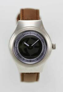 Fossil Watch Womens Stainless Steel Silver 50m Brown Leather Blue Quartz