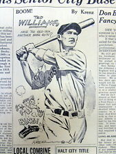 2 1939 newspapers TED WILLIAMS as Major League baseball ROOKIE w BOSTON RED SOX