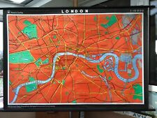 Rare vintage LONDON CITY MAP Haack Gotha roll down educational school map PAPER