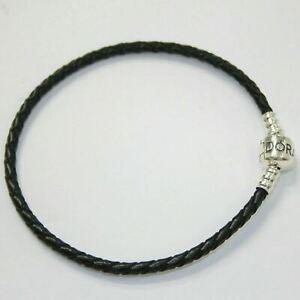 AUTHENTIC PANDORA BRACELET SINGLE BRAIDED LEATHER BLACK #590705CBK
