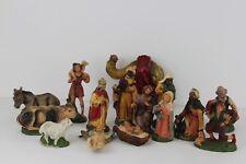 Vintage Italian Nativity Set 15 Pieces Hand Painted Chalkware / Paper Mache