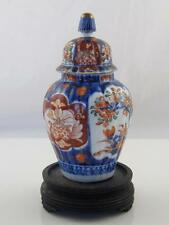 Hand Painted Imari Pottery Lidded Urn On Carved Base