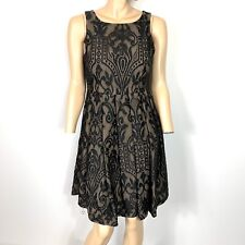 Eva Franco Lace Dress Black Nude Size 6 Cocktail Party Fit & Flare Sleeveless