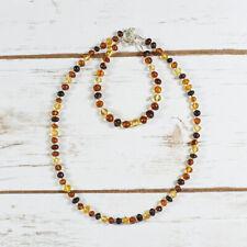 Amber Set Bracelet Necklace Natural Silver Beads Polished Multicolour Amber Gift