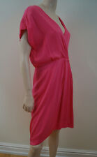 DIANE VON FURSTENBERG Hot Pink Silk Blend Short Sleeve Summer Dress US12; UK16