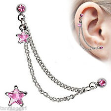 Star Double Chained Cartilage Earring - Pink Star - Extremely Hot!