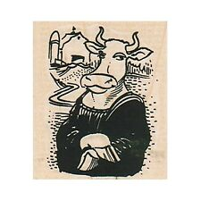 Mounted Rubber Stamp, Mona Cow, Cow, Mona Lisa, Funny Cow, Farm, Farming, Dairy