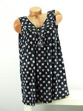 Shirt mit Kette Top Tunika Lagenlook Größe 46- 52 one size schwarz grau Punkte w