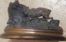 ANTIQUE JULES MOIGNIEZ BRONZE MATCH HOLDER RAT TERRIER-AS IS