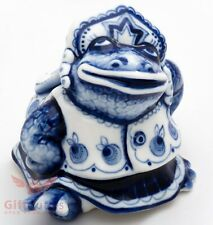 Porcelain Gzhel Princess Frog Toad from fairy tale Figurine Souvenir handmade