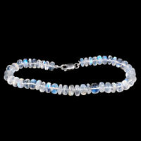 Natural Rainbow Moonstone Bracelet 6mm-7mm Beads - 925 Silver Clasp 7.5 Inch